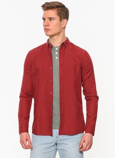 Mavi Uzun Kollu Gömlek Kırmızı